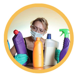 Woman with chemical mask