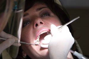 Lady during routine dental checkup